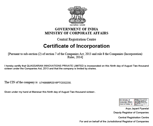 Certificate of incorporation.